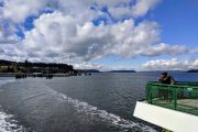 View of Whidbey Island from the Washington State Ferry on a tour from Seattle