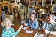 Guests enjoying wine-tasting on a Woodinville wine tour