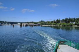 View of Bainbridge Island from a Washington State Ferry on a Bainbridge Island day tour from Seattle
