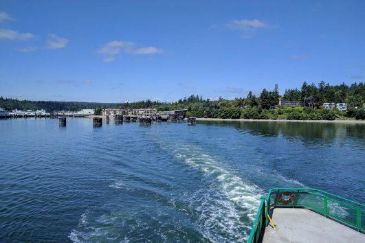 View of Bainbridge Island from a Washington State Ferry on a Bainbridge Island day tour from Seattle